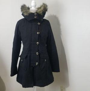 Free people pea coat black size 6 hooded